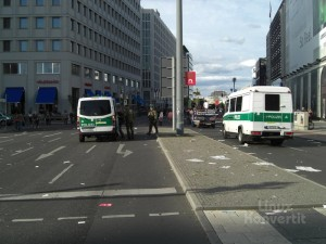 Das Ende des Demonstrationszuges, immer noch am Potsdamer Platz.