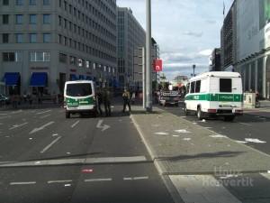 Das Ende des Demonstrationszuges, immer noch am Potsdamer Platz.